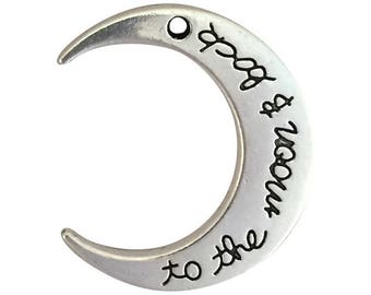 3 To The Moon and Back Charm Silver Crescent Moon Pendant 29x26mm by TIJC SP1617