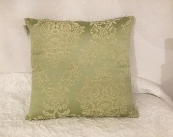 Green Damask pillow in cotton sateen
