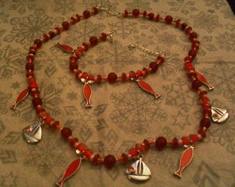 set (necklace and bracelet), colorful, original (red and pink)