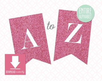Printable Pennant Banner that includes entire alphabet: Pink Glitter Banner with White Letters (Instant Digital Download)