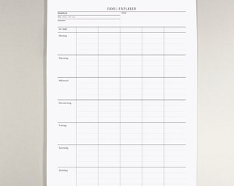 Family weekly planner A3