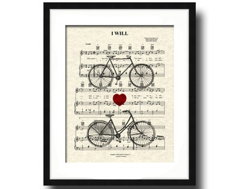 I Will Song Sheet Music His and Hers Bicycle Art Print, Custom Wedding & Anniversary, Name and Date, First Dance