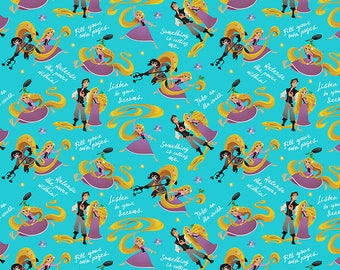 Disney Fabric Rapunzel Fabric Rapunzel and Friends in Blue From Springs Creative 100% Cotton