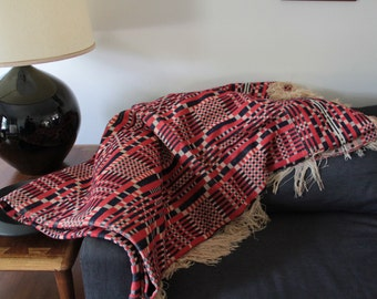 Beautiful large hand woven jaquard coverlet blanket
