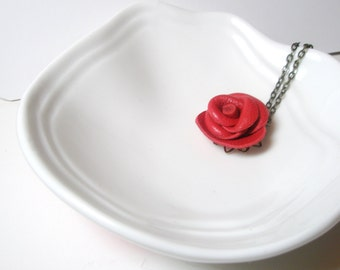 Red leather rose necklace -3rd anniversary gift- Red  Rose Pendant -leather  jewelry -Statement Necklace