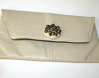 ON SALE Recycled Cream Beige Off White Leather Clutch Purse OOAK