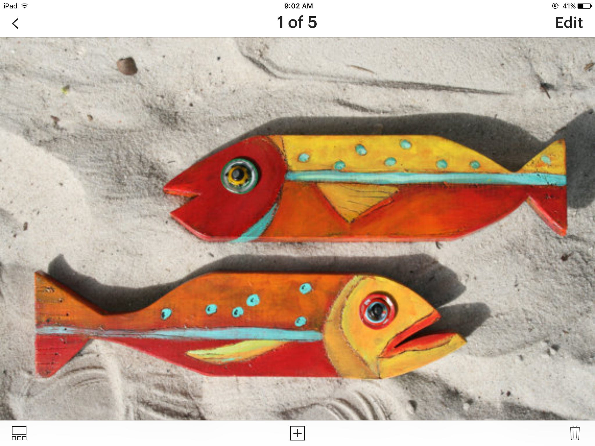 Bait Fish Fred and Ethyl wooden fish painted wooden fish