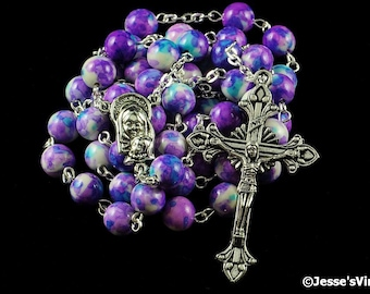 Catholic Rosary Beads Purple Blue White Rain Flower Natural Stone Silver Traditional Five Decade
