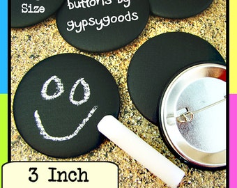 "3"" Sets of (25)-(35)-(50)-(75)-(100)QTY: Chalkboard Pinbacks, Blackboard Badges, Nametags, Place Cards, Party Prizes, Corporate Giveaways"