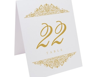 Paisley Wedding Table Numbers with Custom Colors