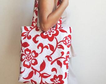 Red Flowers Tote Bag - Convenience Bag - Books Bag - Magazines Bag - Laptop Bag - Shoulder Bag - Hand Bag - New york Tote Bag