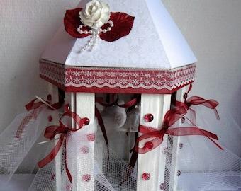 "TABLE DECORATION wedding ""birdcage"" red/white"