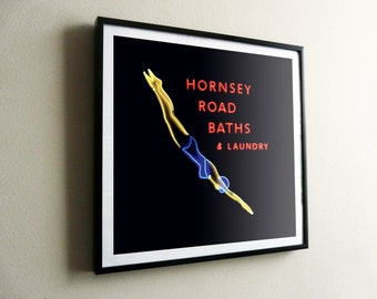 Hornsey Road Baths & Laundry Neon (R) – flat print or framed options – posters also available – FREE UK postage