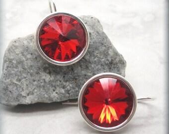 Ruby Rivoli Earrings, July Birthstone Earrings, Swarovski Crystal Earrings, Sterling Silver, Bridesmaid Gift, Birthday Gift for Her