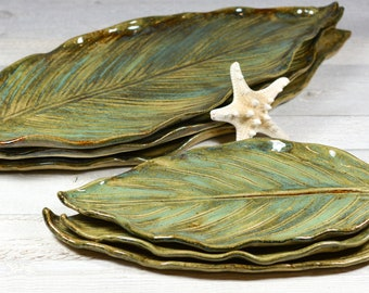 Ceramic Leaf Tray - Pottery Leaf - Tropical Leaf Serving Plate