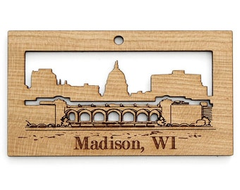 Madison Skyline / Capital Ornament - from Timber Green Woods. Sustainable Harvest Wood. Made in the USA!