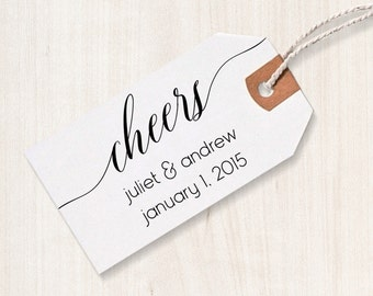 Cheers Rubber Stamp - Cheers Favor Stamp, DIY Wedding Stamp, Wedding Stamp, Favor Stamp