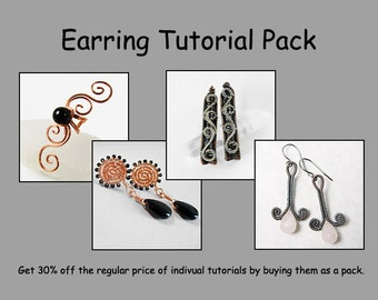 Earring and Ear Cuff Tutorial Pack - Wire Jewelry Tutorials - Save 30%