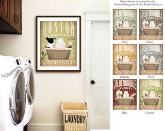 Boston Terrier dog laundry basket company laundry room artwork UNFRAMED signed artists print by stephen fowler geministudio
