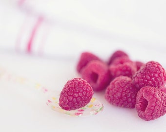 Food Photography - Kitchen Art - Berries - Raspberries - Fruit - Dining Room Decor - Fine Art Photography Print - Red White Home Decor