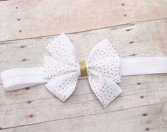 White and gold baby headband, infant headband, gold baby headband, newborn headband, white bow headband, baby hair bow, baby hair band