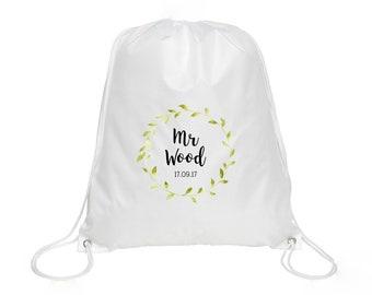 Personalised Mr Name & Date Drawstring Bag