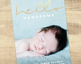 Birth announcement photo card, photo birth announcement, birth announcement, girl, boy, newborn baby announcement, modern, PRINTABLE card