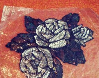Sale was 15 now 9.Sequin Beaded Flower Applique/Sequin Applique/ Beaded Applique/Flower Applique/Goth Applique/Goth Wedding/Steampunk