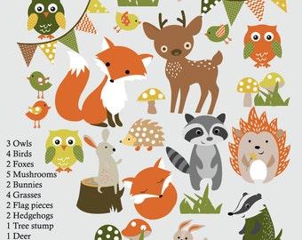 Kids Wall Decals Forest Decals, Nursery Wall Decals, Fox Decals