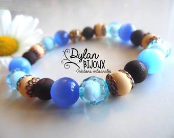 Bracelet blue and bronze - nickel free