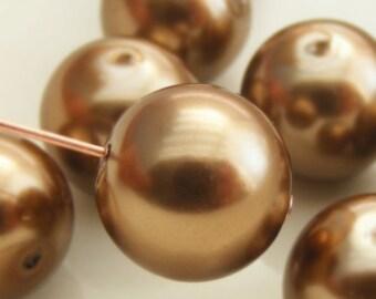 Glass Pearl Beads 12mm Round Light Bronze (Qty 10) Z-12P-LB