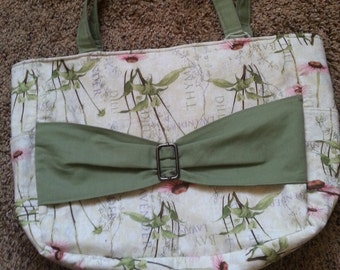 Green Floral Bow Purse