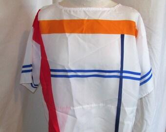 Vintage Lady Arrow Mystique Blouse Casual Top T Tunic Silky Shirt Block Print Bright Colors Womens Size M Medium 80s 1980s