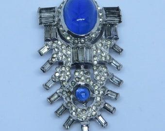 Pretty vintage Art Deco era signed F.N.Co Fishel Nessler & Co pave baguette crystal rhinestone blue glass dress clip brooch