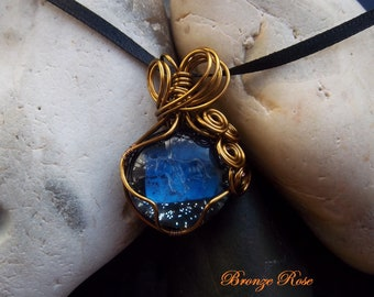 Handmade wire wrapped Taurus glass nugget necklace