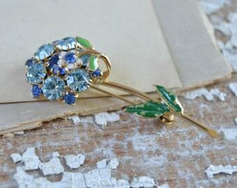Vintage Blue Rhinestone Flower Pin - Pretty Costume Brooch Green Leaves