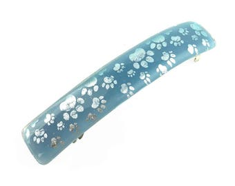 French Hair Barrette, Blue with Silver Paw Prints, Dichroic Glass, Extra Large Clip