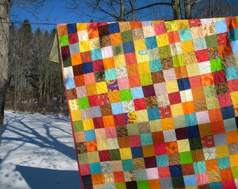 Quilts, Patchwork bed Quilt Queen Size--93X93--Warm Earthtone colors, aqua, tangerine, handmade cotton blanket, vintage retro look
