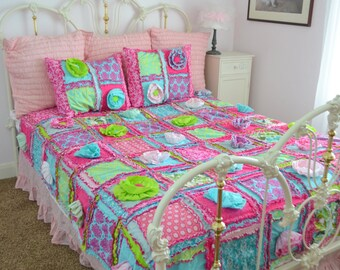 Floral Quilt Bohemian Bedding - Turquoise / Green / Pink Bedding Twin Size Rag Quilt - Girl Bedding Twin Whimsical Bedding- Princess Bedding