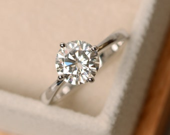 Moissanite ring, solitaire ring, engagement ring, moisssanite engagement ring