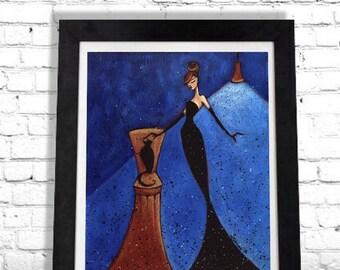 Woman Cat Print, Black Cat Art, Elegant Art Print, Chanel Art, Vintage French Decor, Colorful Wall Art, Home Decor, Gift for Her Shano