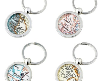 College  Map Keychain Ring  Choose the City University or  School Graduation Gift Custom Free  US Shipping Graduate Gift