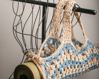 Yoga Mat Bag, Granny Square, Buff, Country Blue  & Mirage Original HH Design