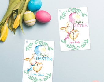 Personalized happy easter tags, bunny tags, easter tags, printable easter tags, hoppy easter, favor tags, gift tags