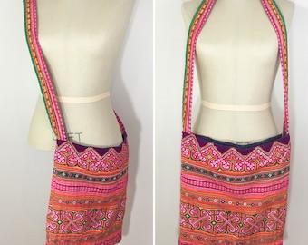 90s Pink Orange Green Ribbon Hippie Crossbody Tote Bag Purse, Large Size