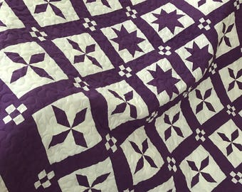SALE Quilt Pinwheels and Stars Deep Purple and White Queen Ready to Ship
