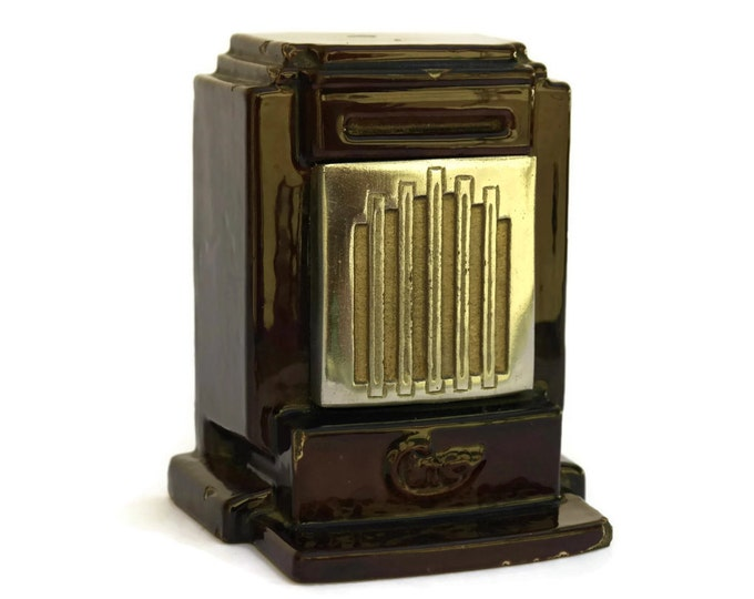 Antique French Cast Iron Art Deco Coin Bank. Wood Burner Stove Money Box.