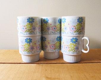 vintage mug set flower power 70s pastel colors stackable japan 1970s kitchen dining