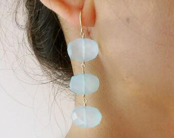 Triple Aqua Chalcedony Gold Earrings - Aqua Chalcedony Earrings - Semi Precious Earrings