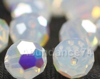 24 pcs Swarovski Elements - Swarovski Crystal Beads 5000 4mm Round Ball Beads - WHITE OPAL AB